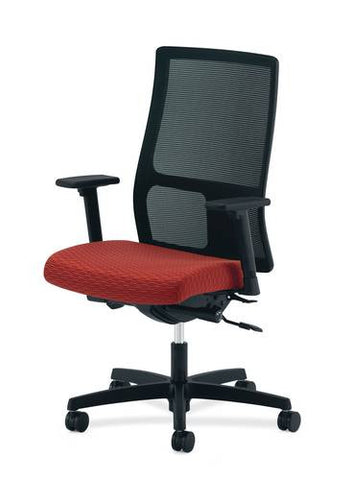 Hon® Ignition® Mid-Back Deluxe Synchro-Tilt Chair with Adjustable T-arms, Mesh Back, Upholstered Seat, Grade 4 Upholstery