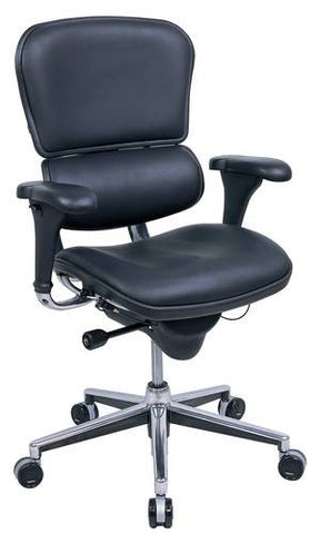 Ergohuman Mid-Back Chair, Black Leather Upholstery