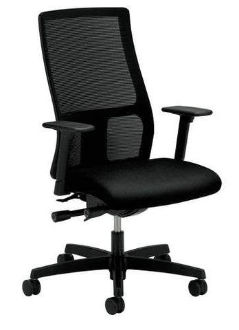 Ignition® Series Mid-Back Deluxe Synchro-Tilt Chair with Seat Slider, Msh Back, Upholstered Seat, Grade 1 Fabric