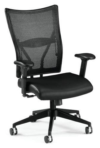 Body Perfect Mesh Mid-Back Executive Chair, Black Leather Seat