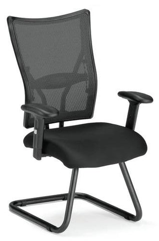 Body Perfect Mesh Guest Chair, Black Fabric Seat