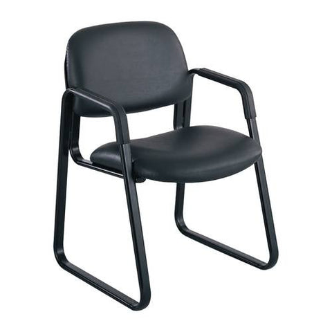 Cava® Urth™ Series Sled Base Guest Chair, Black Vinyl Upholstery