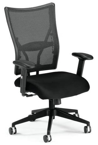 Body Perfect Mesh Mid-Back Executive Chair, Black Fabric Seat