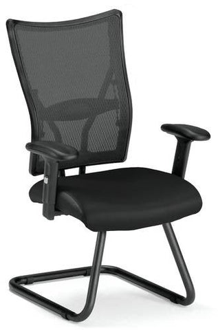 Body Perfect Mesh Guest Chair, Black Leather Seat