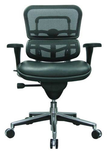 Ergohuman Mid-Back Chair, Leather Seat, Mesh Back