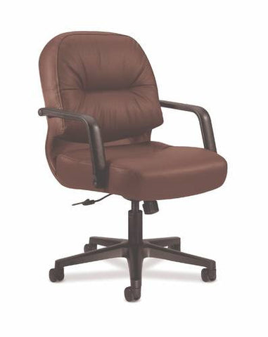 Leather Mid-Back Swivel Chair, Memory Foam Seat
