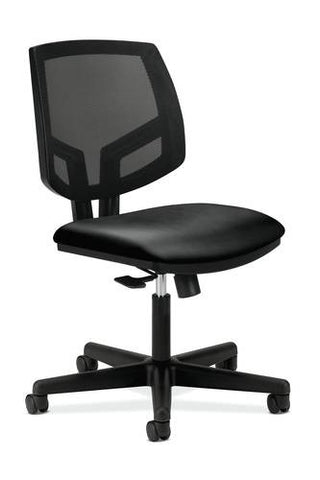 Volt® Task Chair without Arms, Black Leather Seat, Black Mesh Back