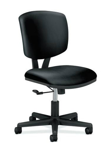 Swivel-Tilt Chair without Arms, Black Leather Seat and Back