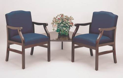 Traditional Modular Grouping, 2 Chairs with Corner Table, Heavy-Duty Patterned Fabric Upholstery