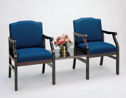 Traditional Modular Grouping, 2 Chairs with Center Table, Heavy-Duty Patterned Fabric Upholstery