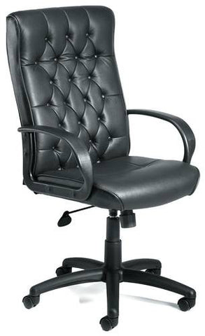 Stylish Tufted-Back High-Back, Black Leather Chair