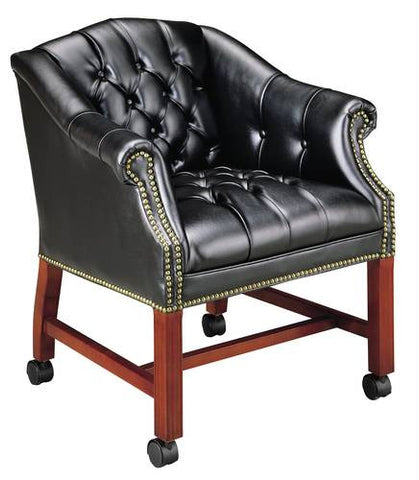 Club Chair with Casters, Leather Upholstery