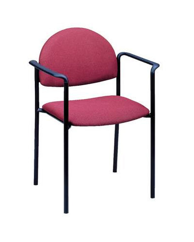 Contoured Stack Chair With Arms, Vinyl Upholstery