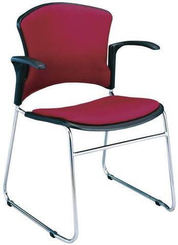 Coronet Stacking Arm Chair with Padded Seat & Back, Fabric Upholstery