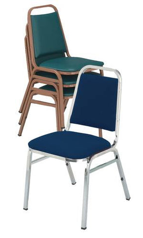 "Vinyl-Upholstered Stacking Chair, 1-1/2"" Seat, Chrome Frame"