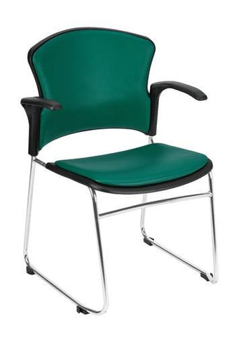 Coronet Stacking Arm Chair with Padded Seat & Back, Vinyl Upholstery