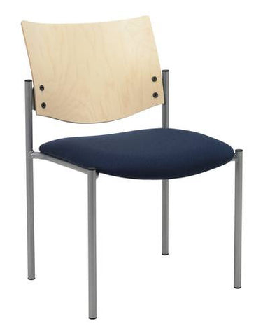 Armless Stacking Chair, Wood Back, Fabric Seat
