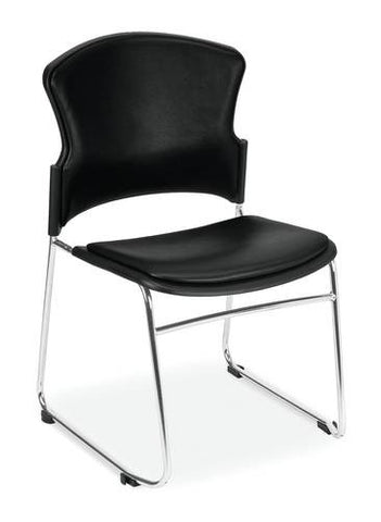 Coronet Stacking Chair with Padded Seat & Back, Anti-Microbial Vinyl Upholstery