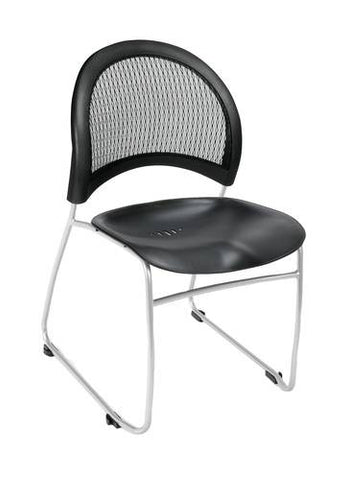 """Moon"" Stacking Chair, Black Plastic Seat"