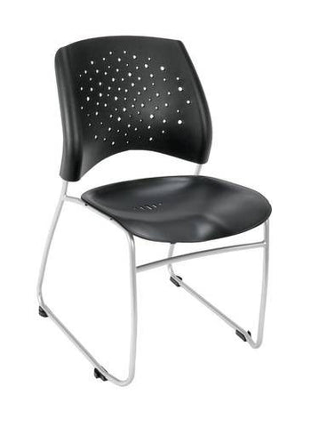 """Stars"" Stacking Chair, Black Plastic Seat"