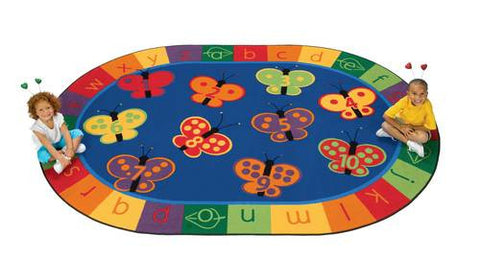 "123 ABC Butterfly Fun Rug, Oval, 6' 9"" W x 9' 5"" D"