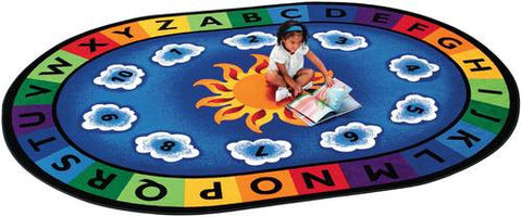 "Sunny Day Learn and Play Carpet, Oval, 4' 5"" W x 5' 10"" D"