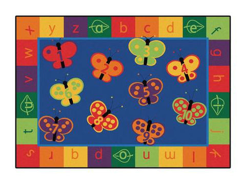 "123 ABC Butterfly Fun Rug, Rectangular, 5' 5"" W x 7' 8"" D"