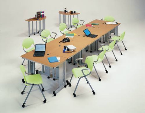 Models shown: 89391 (Rectangular Tables); 89392 (Quarter-Round Tables); 42326 (Rico Arm Chairs) and 42322 (Rico Chairs). All tables with casters.