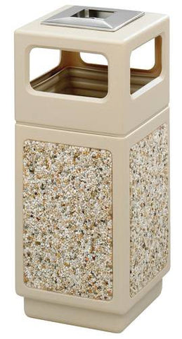 Aggregate Panel Outdoor Plastic Receptacle, Side Opening w/Urn, 15 Gal. Capacity