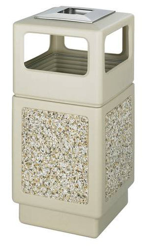 Aggregate Panel Outdoor Plastic Receptacle, Side Opening w/Urn, 38 Gal. Capacity