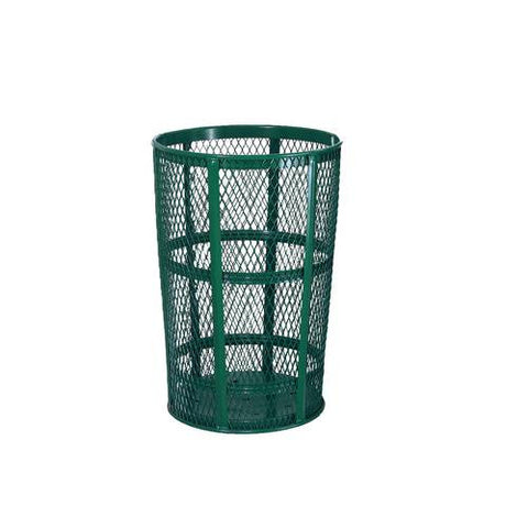 Expanded Steel Waste Receptacle, 45-Gallon Capacity, Green Powder-Coat Finish