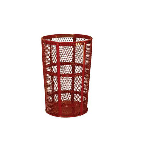 Expanded Steel Waste Receptacle, 45-Gallon Capacity, Red Powder-Coat Finish