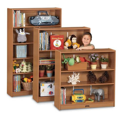 Models shown (front to back): 410205 (Sproutz Bookcase with 2 Adjustable Shelves); 410206 (Sproutz Bookcase with 3 Adjustable Shelves) and 410207 (Sproutz Bookcase with 4 Adjustable Shelves).