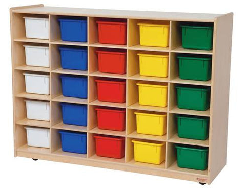 Mobile Cubbie 25-Tray Storage Cabinet with Assorted Color Trays