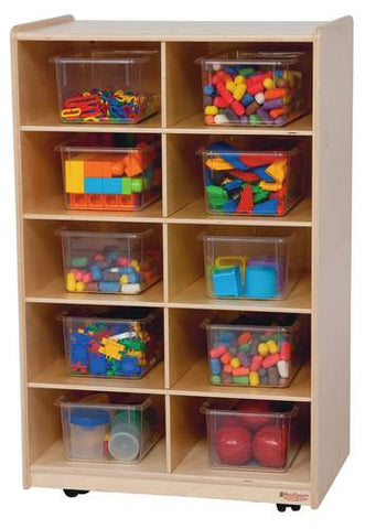 Mobile Cubbie 10-Tray Storage Cabinet with Translucent Trays