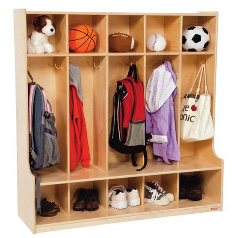 "Five Section Locker with Seat, 48"" W"