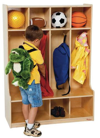 "Four Section Locker with Seat, 36"" W"