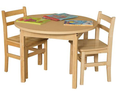 "Wood Table with High-Pressure Laminate Top, 48"" Round, Fixed Height Legs"