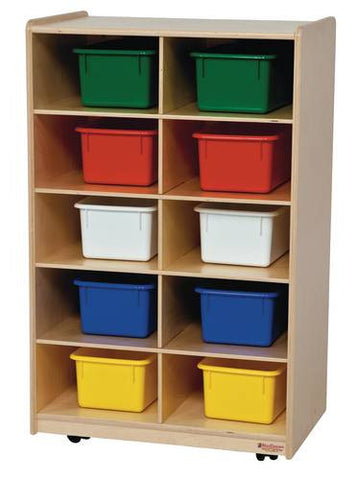 Mobile Cubbie 10-Tray Storage Cabinet with Assorted Color Trays