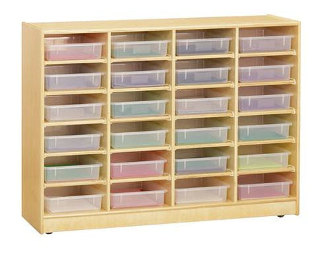 24 Paper-Tray Mobile Storage, Clear Trays, Baltic Birch Finish