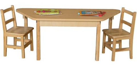 "Wood Table with High-Pressure Laminate Top, 30"" x 30"" x 30"" x 60"" Trapezoid, Fixed Height Legs"