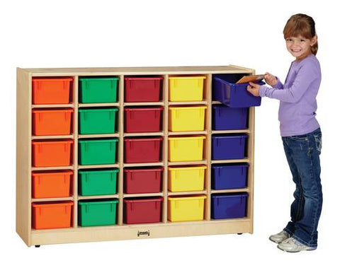 Cubbie-Tray Mobile Storage, 25 Openings, Assorted Color Trays, Baltic Birch Finish