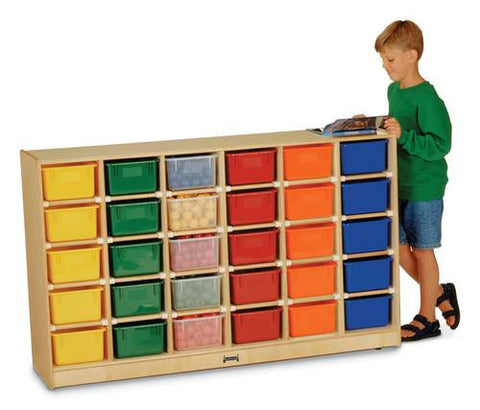 Cubbie-Tray Mobile Storage, 30 Openings, Assorted Color Trays, Baltic Birch Finish
