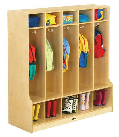 5 Section Coat Locker with Seat, Baltic Birch Finish