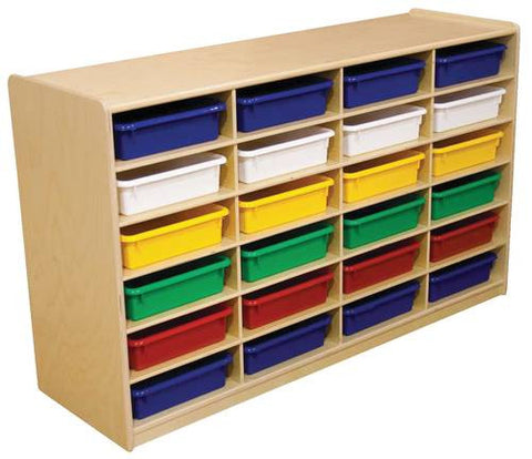 Letter Tray Storage Unit, 24 Assorted Color Trays
