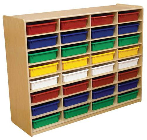Letter Tray Storage Unit, 32 Assorted Color Trays
