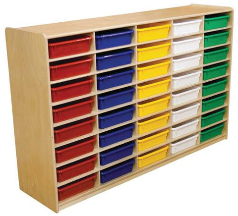 Letter Tray Storage Unit, 48 Assorted Color Trays