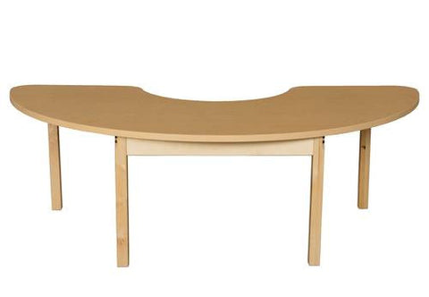 "Wood Table with High-Pressure Laminate Top, 22"" x 64"" Half Circle, Fixed Height Legs"
