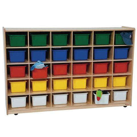 Mobile Cubbie 30-Tray Storage Cabinet with Assorted Color Trays