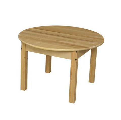 "Solid Birch Hardwood Table, Birch Hardwood Top, 30"" Round, Fixed Height Legs"